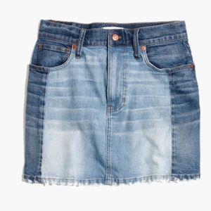 Madewell pieced mccarren raw-hem jean skirt